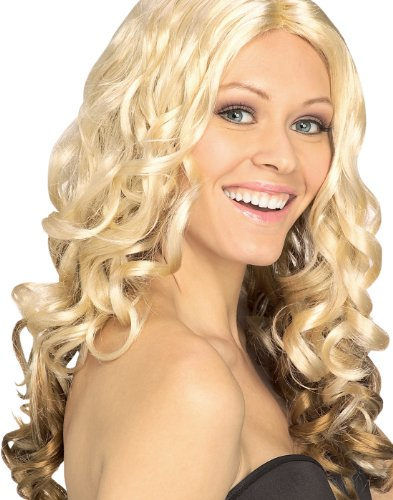 Goldilocks Blonde Long Curly Sassy Womens Sexy Two Toned Halloween Costume Wig