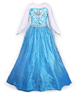 JerrisApparel Snow Queen Elsa Party Dress Costume Princess Cosplay Dress Up (5-6, Blue)