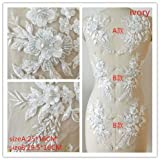 Hand Beaded Flower Sequence 3D Lace Applique Motif Sold by 3 Pairs Great for DIY Decorated Craft Sewing Costume Evening Bridal Top A6 (Ivory) (Color: Ivory)