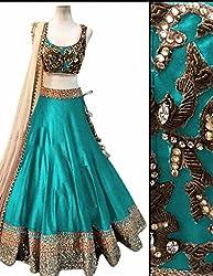 Bhavya Enterprise Benglori Silk Firozi Lehenga