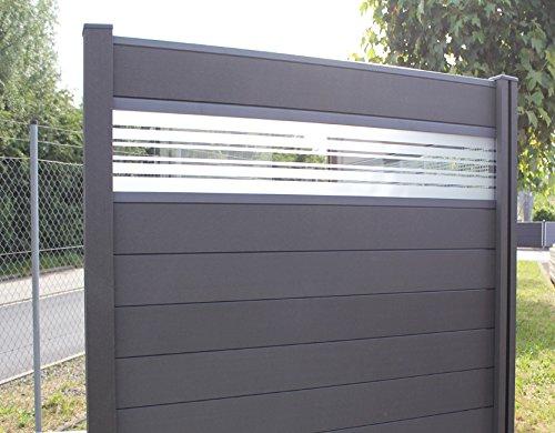 Sichtschutzzaun Holz Abmessungen ~ WPC  BPC Sichtschutzzaun dark grey 2 Zäune inkl 3 Pfosten und