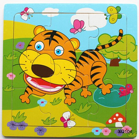 XQ104 9-piece Wooden Colorful Jigsaw Animal Puzzle, Tiger