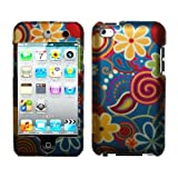 Rubberized Blue Green Orange Yellow Pink Purple Flower Swirl Snap on Design Case Hard Case Skin Cover Faceplate for Apple Ipod Touch 4g 4th Generation + Screen Protector Film + Free Mp3 Bag