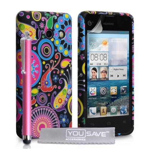 huawei-ascend-y300-case-floral-jellyfish-silicone-gel-cover-with-stylus-pen