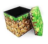 マインクラフト(MINECRAFT) 30×30×30 フタ付 収納 ボックス 頑丈4mm厚 おもちゃ ストレージ おかたずけ箱 スツール【全3種:スツール、TNT、草ブロック】 (草)