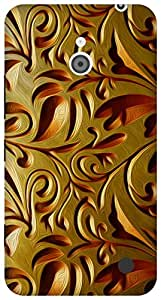 The Racoon Lean gold weave hard plastic printed back case for Nokia Lumia 1320