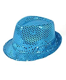 Solid Color Sequins Fedora Hat (Light Blue)