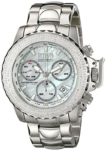 Invicta 16256 Men's Subaqua Reserve Diamond Accented Bezel MOP Dial Steel Bracelet Chronograph Dive Watch