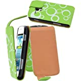 vyvy mobile® FlipStyle Handytasche CIRCLES GREEN für Samsung S7562 Galaxy S Duos Grün