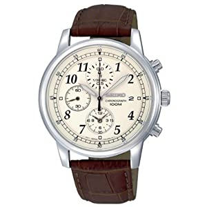 Seiko Men's SNDC31 Classic Brown Leather Beige Chronograph Dial Watch