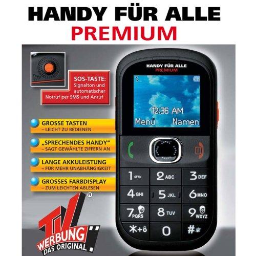 TV Das Original Premium Großtasten-Handy inkl. Taschenlampe, Freisprechfunktion und Radio schwarz