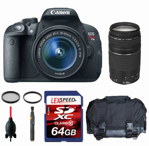 Canon EOS Rebel T5i W/ EF-S 18-135mm Lens + Canon EF 75-300mm + Gadget Bag + Filters + 64GB (10) image