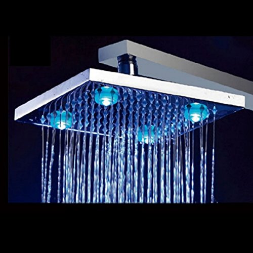 """8"""" Inch Temperature Control Colors Square Copper 4 Leds Fixed Rainfall Led Shower Head Silver"""