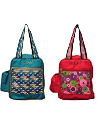 GLEAM Blue And Red Premium Lunch Bag-set Of 2