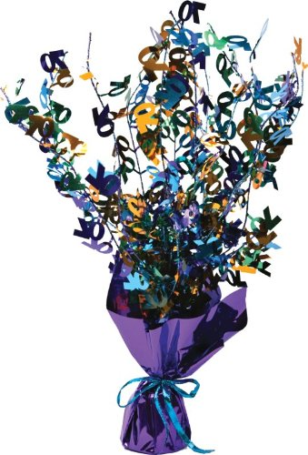 Creative Converting Bright and Bold 70th Birthday Foil Spray Centerpiece, Mini