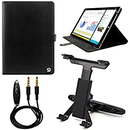 VanGoddy Arthur 10.1-inch Tablet Portfolio Case for Samsung Galaxy Tab 4 & Tab 4 Nook 10.1 with Headrest Mount & 3.5mm Auxiliary Cable (Black)