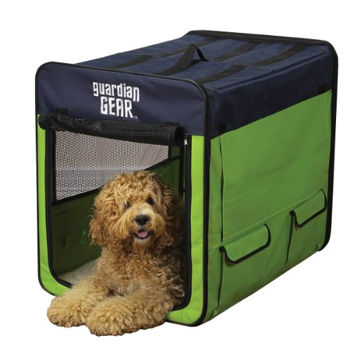 Guardian Gear Collapsible Dog Crate, Medium, Lime Green/Blue front-1021892