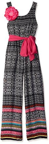 Bonnie Jean Big Girls Border Print Jumpsuit, Black/Multi, 10