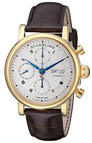 Stuhrling-Original-Mens-13903-Prestige-Prominent-Analog-Display-Swiss-Automatic-Brown-Watch