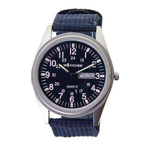 (ワンチャー) WANCHER クォーツ 腕時計 リストウォッチ デイデイト 三針型 スポーツ WAWT28QUARTZ (文字盤:ネイビー × バンド:ネイビー)