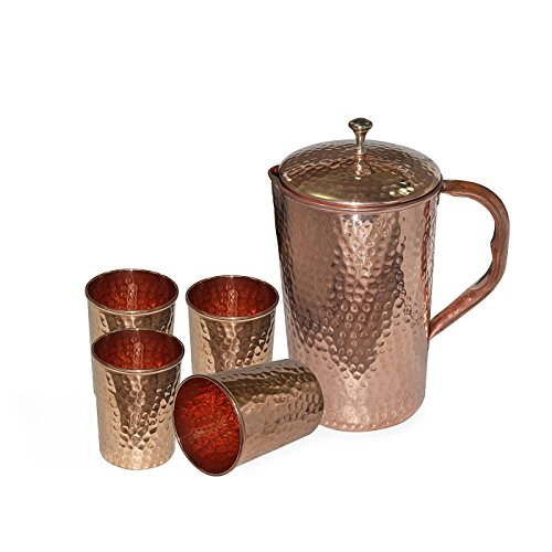 BLUE NIGHT Hammered Water Jug Pitcher with Lid and 4 Glass Tumbler Pure Copper Drinkware Set for Ayurvedic Health Benefits (Water Jug Spicket compare prices)