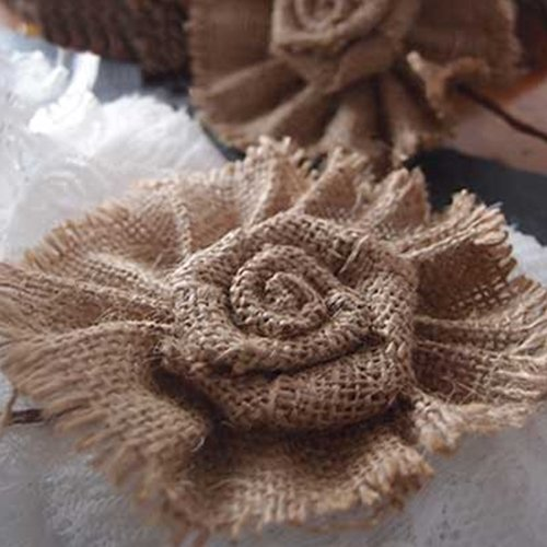 David Tutera Burlap Flower Picks - 6 x 3.5 inches - 2 pieces