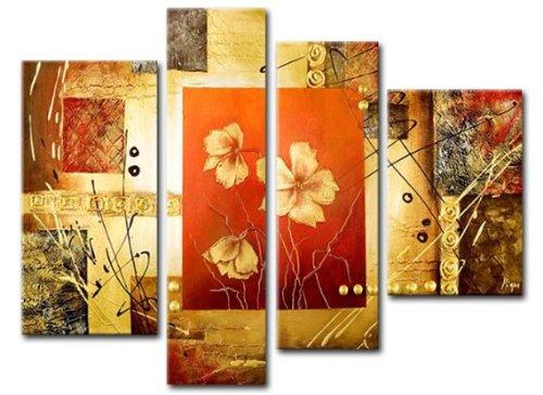 Sangu Wood Framed Modern Summer Flowers Home Decoration Modern Oil Painting Gift On Canvas 4-Piece Art Wall Decor