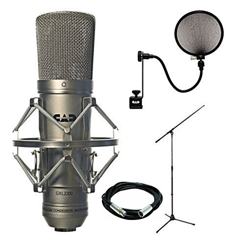 Cad Audio Large-Diaphagm Studio Condenser Microphone + On Stage Euro Boom Microphone Stand Black + Accessory Kit