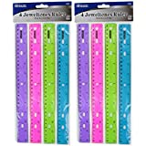 Bazic Jeweltones Color Rulers, 12 Inches, Pack of 8