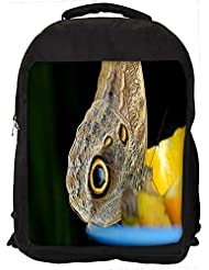 """Snoogg Butterfly In Yellow Lemon Casual Laptop Backpak Fits All 15 - 15.6"""" Inch Laptops"""