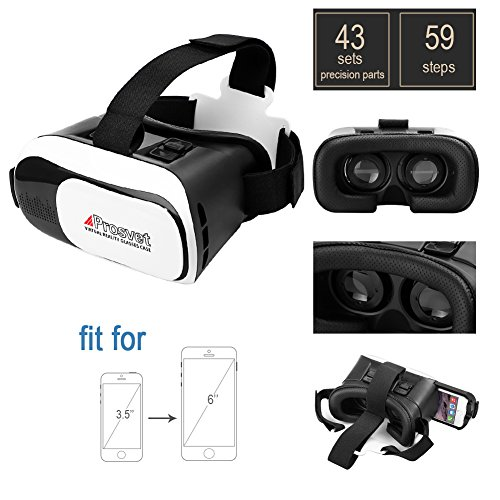 "Prosvet VR Box Latest Upgrade II Headset Glasses Virtual Reality Mobile Phone 3D Movies for iPhone 6s/6 plus Samsung Galaxy s5/s6/note4/note5 and Other 4.7""-6.0"" Cellphones"