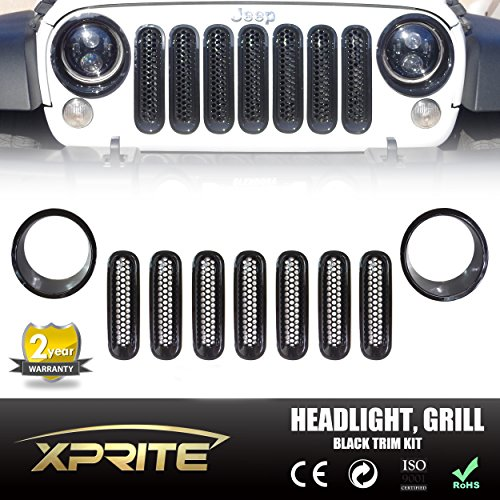 Xprite Black Front Grill Mesh Grille Insert Kit & Bezel Cover For Headlight 2007 - 2017 Jeep Wrangler JK & JK Unlimited (9-Piece Set) (Grill Cover Insert compare prices)