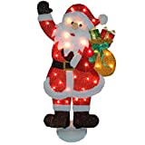 National Tree Red Tinsel Flat Santa with 35 Clear Lights, 31-Inch