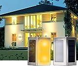 DBPOWER 2pcs LED Stainless Steel Staircase LED Solar Step Lights, Solar Dock Light£¬Solar Powered 1.2V/600mAh AA Ni-MH 3000-3500K (Cool White Light)