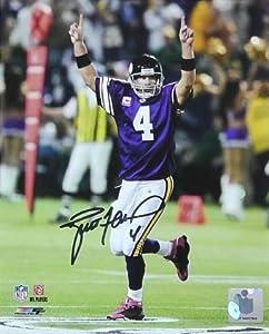 Brett Favre Autographed Minnesota VikingsPhoto From Monday Night Football Pink...