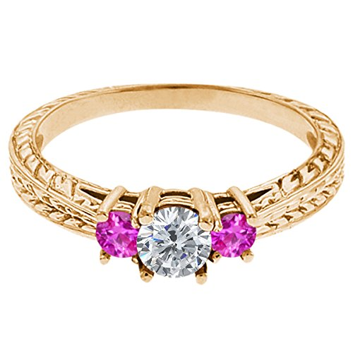 0.56 Ct Round G/H Diamond Pink Sapphire 14K Yellow Gold 3-Stone Ring