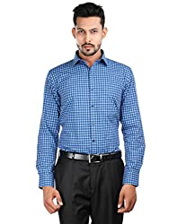 Oxemberg Men's Checkered Formal 100% Cotton Sky Blue Shirt