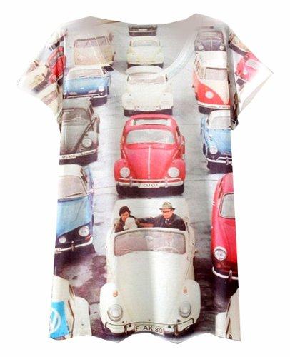 2014 Vintage Spring Summer Digital Printing Women'S Short Sleeve T-Shirt