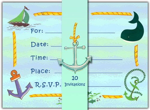 Dolce Mia Sailor Nautical Party Invitations -