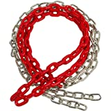 5 1/2 FT COATED CHAIN per pair, Red with SSS logo sticker