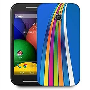 Snoogg Blue Background Strips Designer Protective Phone Back Case Cover For Motorola E / Moto E