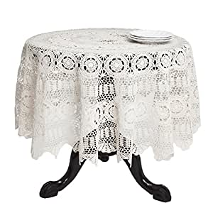 Amazon.com: SARO LIFESTYLE 869 Crochet Tablecloths, 54-Inch, Round