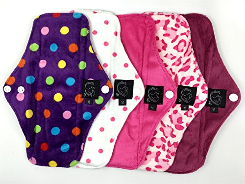 5-pack-pink-patterned-regular-flow-cloth-sanitary-pads-csp-bamboo-charcoal-minkee-minky-washable-reu