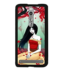 Fuson Premium 2D Back Case Cover Cute girl in red With blue Background Degined For Asus Zenfone 2::Asus Znfone 2 ZE550ML