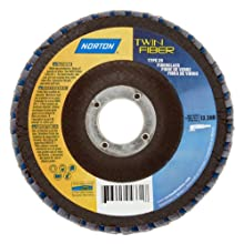 Norton Twinfiber Abrasive Flap Disc, Type 29, Threaded Hole, Fiberglass Backing, Ceramic/Zirconia Alumina