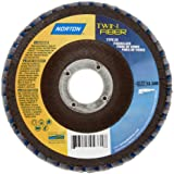 Norton Twinfiber Abrasive Flap Disc, Type 29, Round Hole, Fiberglass Backing, Ceramic/Zirconia Alumina