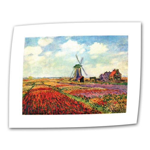 ArtWall Windmill by Claude Monet 14 by 18-Inch Flat/Rolled Canvas with 2-Inch Accent Border