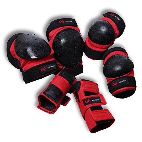 PHOENIX Erwachsene / Kinder Inline Skates SchützerKomplettschutz Protektorenset Knieschoner Ellenbogenschützer Handgelenkschoner Schutzausrüstung