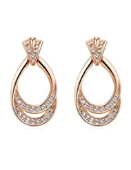 Kaizer Champagne 18K Rose Gold Plated Cubic Zircon Swarovski Inspired Earring For Women/Girls (Valentine Gift...