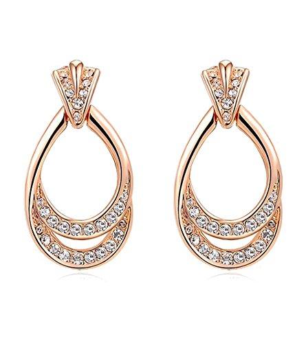 Kaizer Champagne 18K Rose Gold Plated Cubic Zircon Swarovski Inspired Earring For Women/Girls (Valentine Gift...